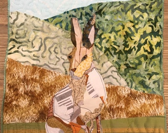 Mr Hare - Mini Art Quilt by Textile Artist Ami James