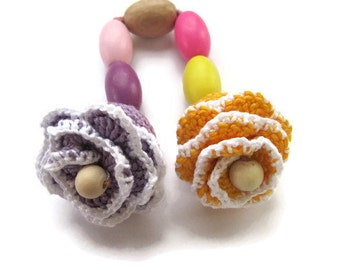 Wooden Baby Teething toy flowers worm beads baby first toy Toddler gift baby crochet natural teether Toddler Toys Montessori grasping toy