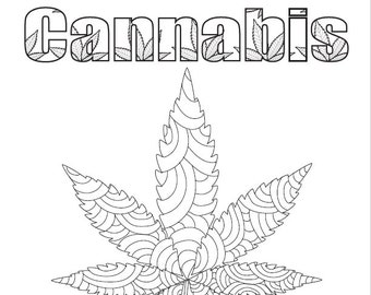 color me high cannabis a marijuana inspired adult coloring book digital download - Cannabis Coloring Book