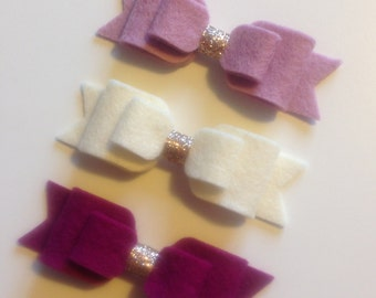 Felt bow hair clip with silver or gold glitter centre - 100% wool felt, accessories, girls hair clips