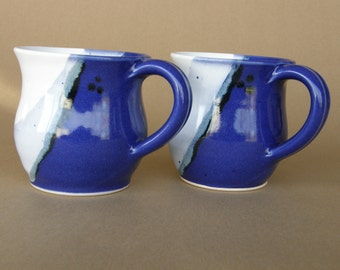 Pair of 12 ounce Mugs - Wheel Thrown Stoneware - Cobalt Blue and White Glaze with Textured Blue and Black Glaze Accents