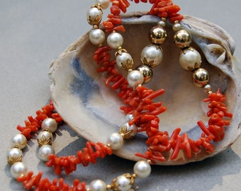 Vintage Salmon Branch Coral and Faux Pearl Necklace
