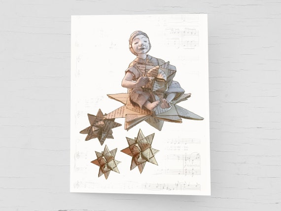 For bookworms and book lovers: Christmas card, handmade book page envelope, holiday card Froebel star, shooting star