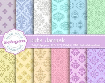 Cute Damask, Digital Paper, Damask, Scrapbooking, Paper, 12x12, Printable, European, Royal, Pattern, Background, Download