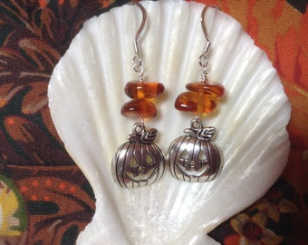 Lampglass jack o lantern earrings