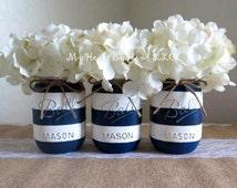 Nautical Baby Shower Centerpiece, Navy Blue and White Stripes Distressed Mason Jar, Nautical Mason Jars, Rustic Home Decor, Sale Boat, Ocean