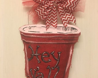 Burlap Red Solo Cup door hanger