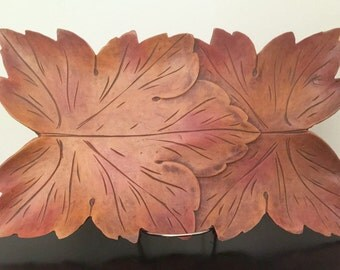 Carved Wood Leaf Platter Tray - Syroco Carved Platter Tray - Decorative Fall Tray - Carved Wood Leaf Tray - Wooden Tray