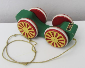 Vintage Brio Pull Along Wooden Toy Made in Sweden 1980s Green Red Yellow Eggturner Rattle Toddler Baby Gift Display Wagon Vehicle