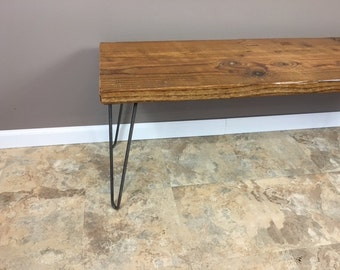 "Mid Century styled dining Bench (1.65"" Standard top) w/ Hairpin legs"