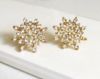 Snowflake Earrings, CZ Diamonds Earrings