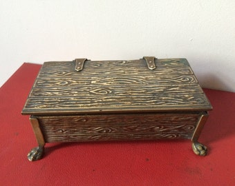 Rare Vintage Brass Box with Feet by Peerage England - Tobacco or Jewellery box. Wood Effect Chest - English Decor - Odds and Ends Chest