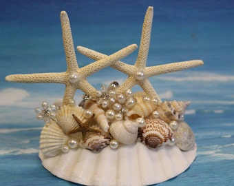 Starfish Wedding Cake Topper/ Beach Theme wedding cake topper /  Destination Wedding topper /Beach Wedding / Tropical wedding topper