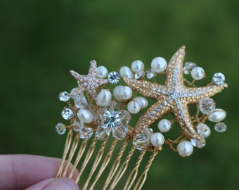Gold Starfish Bridal Comb/ Hair Comb/ Beach Themed Wedding/ Destination Wedding/ Flower Girl Comb