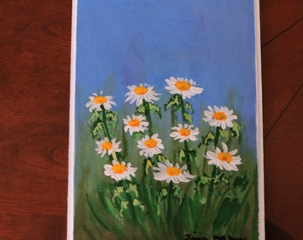 Flower Art  Spring Painting  Daisies in a field 5inx7ins