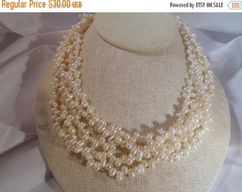 VALENTINES SALE stunning vintage freshwater pearl multi strand necklace 18 inches
