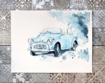 Retro car watercolor,Vintage, Retro car, Original watercolor paintings, original art, wall decor, illustration