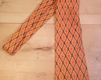 Orange and Brown Men's Patterned Tie