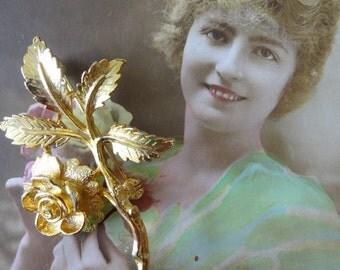 Vintage Gold Rose Brooch, Rose Brooch, 1950s Rose Brooch, Flower Brooch