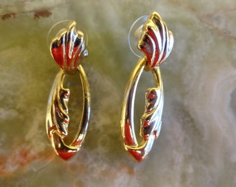 1980s Gold Tone Door Knocker Earrings, Drop Dangle,  for pierced ears