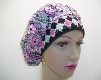 Bouffant-Handmade-Medical Scrub Hat ,Elegant Flowers For Every Occasion -100% Cotton.