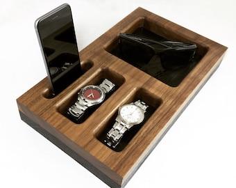 Dresser/Nightstand Organizer, Docking Station, iPhone Dock, Tech Organizer, Desk Organizer, Phone Stand, Gift for Him, Anniversary Gift