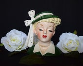 "Green Napco Lady Head Vase with White bow and Gold Accents, Vintage 1956 ""Lucy"" with label C26338"