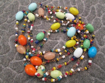 """1960's Vintage > Made in India > Beautiful Multi Color GLASS BEAD 58"""" Long Necklace > Exquisite"""