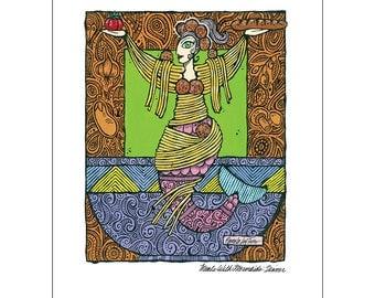 Art Print Meals With Mermaids - Dinner Print 11 x 14 Kitchen Art
