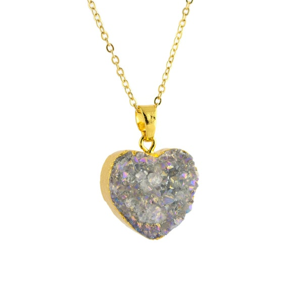 Love Gift Gold Heart Pendant Wallpaper : Items similar to Druzy Heart Necklace, Love Necklace ...