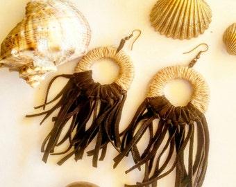Leather fringe handmade earrings
