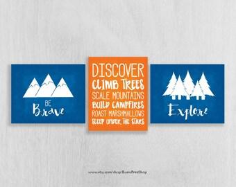 CANVAS Woodland Nursery Art - Camping Nursery - Adventure Nursery - Be Brave, Explore - Camping Wall Art - Woodland Decor, Cabin Decor