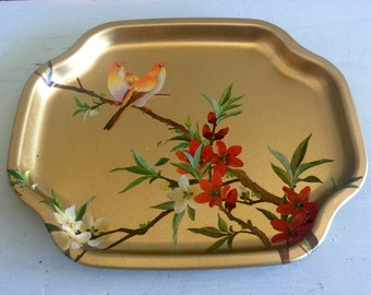 Beautiful small metal tea tray birds and flowers made in England dresser tray