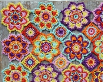 Crochet pattern flower baby blanket by ATERGcrochet