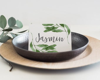 Watercolour Leaves Modern Wedding or Engagement Place Cards (Personalised DIY Printables)