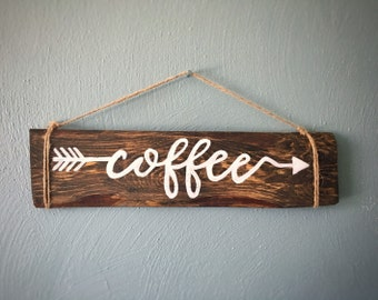Coffee Sign Rustic Reclaimed Wood Hand Painted Wall Hanging, Customized finish, Made to order, Coffee and arrow painted twine hanging sign
