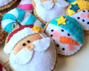 RESERVED Felt Christmas Ornaments/Felt Christmas Decorations-Felt Ornaments-Christmas Cookies-Felt Ornament Set-Christmas Set