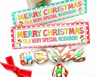 Merry Christmas Neighbor Printable Bag Topper Labels - Merry Christmas Neighbor Party Bag Top, Neighbor Gift Bag Label, Christmas Printable