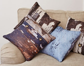 Breezy Blue Linen Cushion, coastal decor, beach, organic homeware, rustic home decor, country chic,  abstract pillow, Duck feather cushion