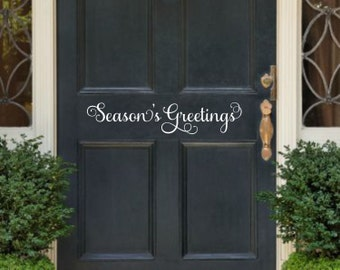 Seasons Greetings Door Decal Christmas Door Decal Christmas Door Decor Holiday Door Vinyl Decal Seasons Greetings Decal Christmas Decal