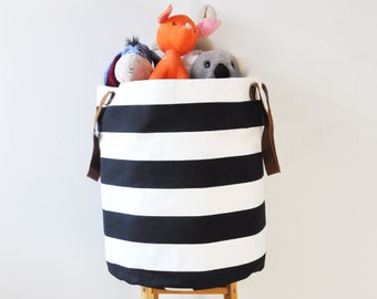 Black White Laundry Hamper, Modern Laundry Basket, Toy Storage, Storage Bin, Toy Basket, Nursery Storage, Black & White
