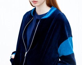 navy bomber jacket / velour bomber / organic jacket / oversized ladies bomber jacket / ladies bomber jacket