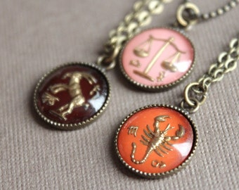 What's Your Sign Necklace - Vintage Glass - Antiqued Brass - Your Choice of Zodiac Sign - Astrological
