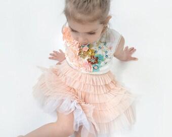 HAUTE COUTURE Dress, handmade embroidery dress, gold-apricot dress, plisee dress, beaded dress, flowergirl dress