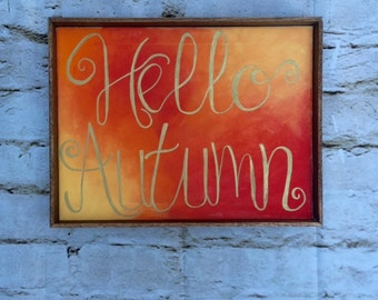 Hello Autumn Canvas with Wooden Frame