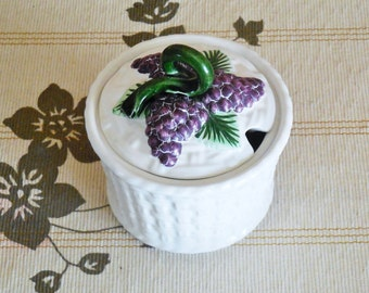 Portuguese majolica mid century sugar bowl, stylised basket, vine and grape detail, kitchenalia