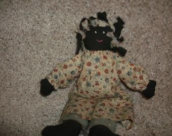 black folk art rag doll