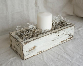 "Centerpiece Box: 13"" Chippy White Distressed, Dark Contrast, Reclaimed Wood"