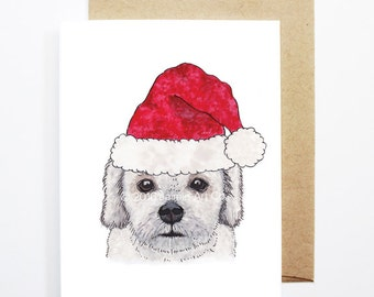 Christmas Card - Lhasa Apso, Dog Christmas Card, Cute Christmas Card, Holiday Card, Xmas Card, Seasonal Card, Christmas Card Set