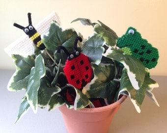 Plant Poke Buddies, Plastic Canvas, Frog, Bumble Bee, Lady Bug